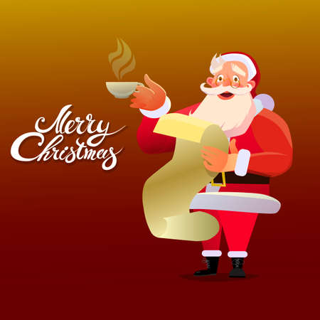 Smiling Santa Claus holding a Cup of coffee holding a letter. Christmas Typographic Background. Merry Christmas. Santa. Christmas card background of the poster. Vector illustration.