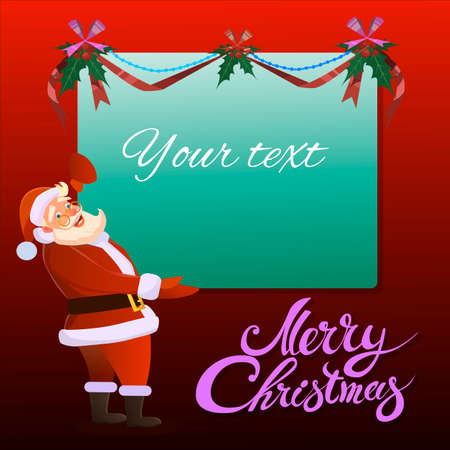 sentarse: Santa Claus holds in his hand advertising banner and smiles. Typographic Background. Merry Christmas. Santa. Christmas sale design template.