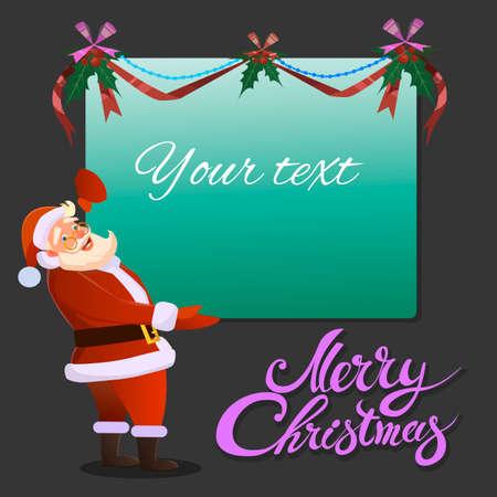 Santa Claus tiene en su banner publicitario mano y sonrisas. Antecedentes tipográfica. Feliz Navidad. Papá. Modelo del diseño de la venta de la Navidad.