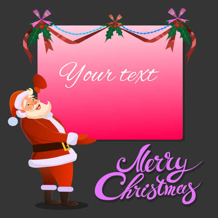 Santa Claus holds in his hand advertising banner and smiles. Typographic Background. Merry Christmas. Santa. Christmas sale design template.