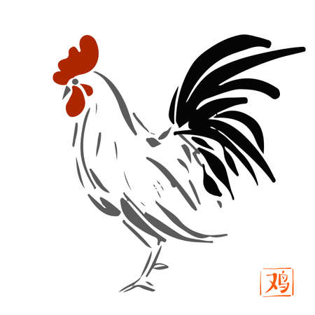 Chinese ink painting. Illustration rooster on white background for calendar, banner or placard. Symbol of chinese new year 2017.