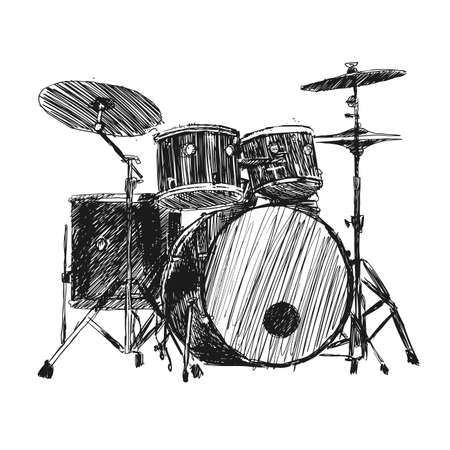 Vector hand drawn illustration of drum kit.