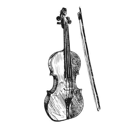 Violin. Musical instruments. Sketch hand drawn vector illustration. Engraving retro vintage style. Illustration