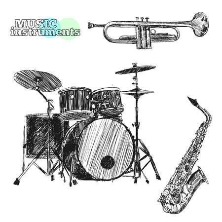 Musical instruments. Sketch hand drawn vector illustration. Engraving retro vintage style. Illustration