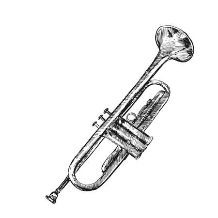 Illustrazione vettoriale di tromba disegnata a mano. Bellissimo disegno a inchiostro di uno strumento musicale a fiato.