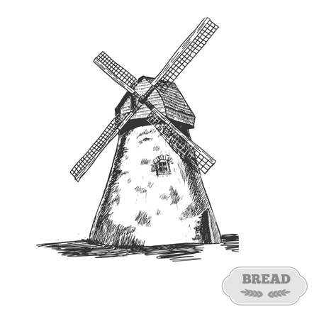 Windmill. Handwritten sketch. Vector illustration. Black ear, on isolated background. Gluten food ingredient engraving retro style.