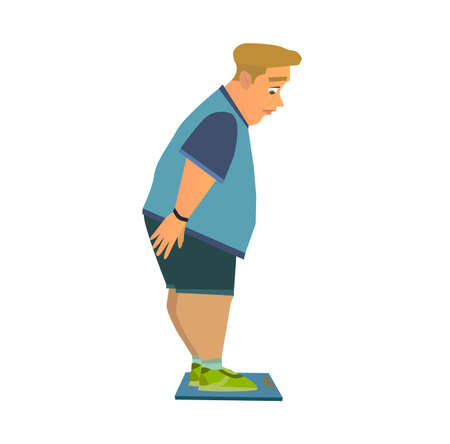 Weight loss. Man before and after diet vector illustration.