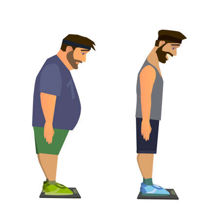 excess: Weight loss. Man before and after diet vector illustration.