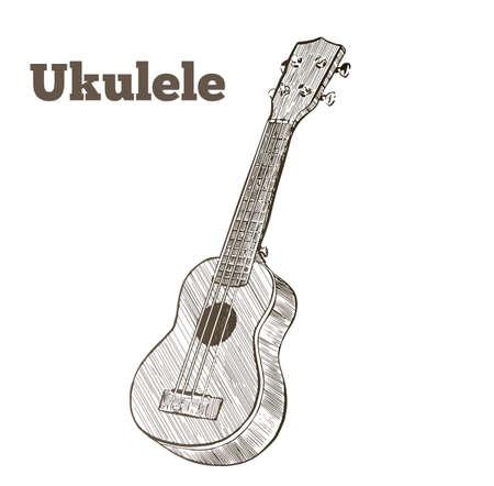 Vector hand drawn illustration of ukulele. Engraving retro vintage style.