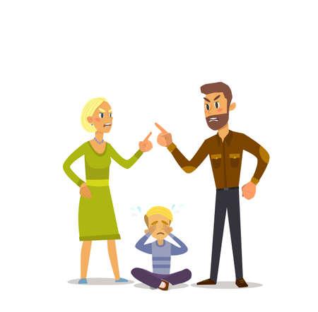 Ein kleiner Junge zu weinen, fluchen, als seine geliebten Eltern. Illustration eines flachen Design. Standard-Bild - 71181573