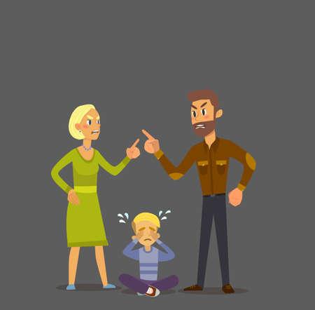 cursing: A little boy crying, cursing when his beloved parents. Vector Illustration of a flat design. Illustration