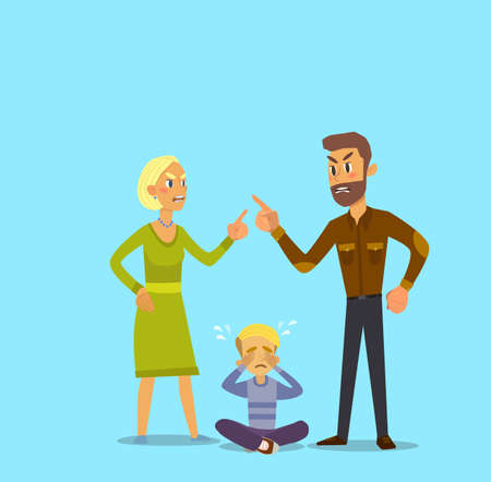 A little boy crying, cursing when his beloved parents. Vector Illustration of a flat design. Illustration