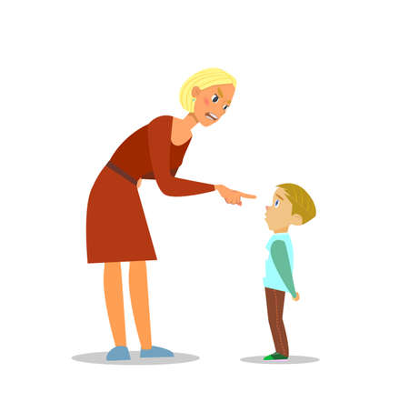 autoridad: Scold niños.El madre regaña al pobre muchacho. ilustración de diseño plano. Vectores