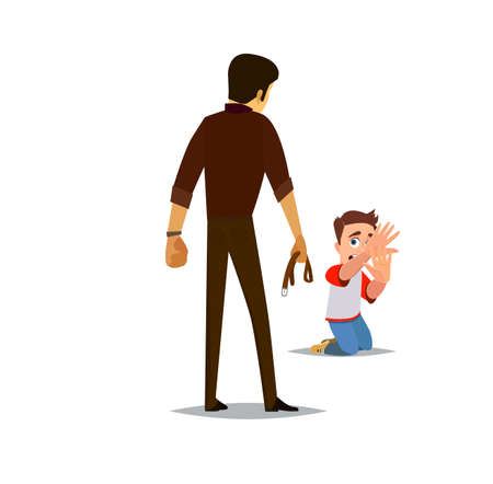 Father threaten harm to your child.Vector Illustration of a flat design.