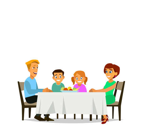 Family meal. Father mother, son and daughter together sit at the table and have lunch. Vector illustration in a flat style Ilustração