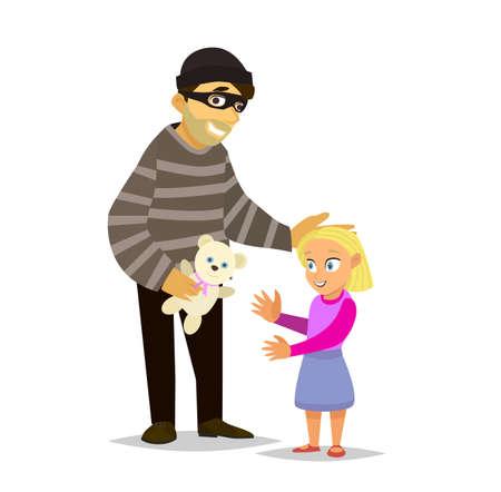 Een vreemdeling lokt een klein meisje, Daria zacht stuk speelgoed.