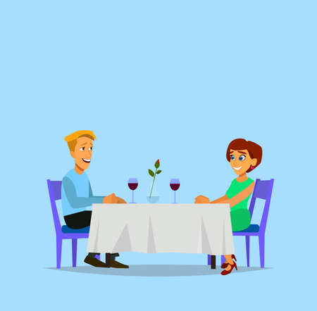 Romantic dinner. Man and woman sitting at the table. Vector illustration in flat style.