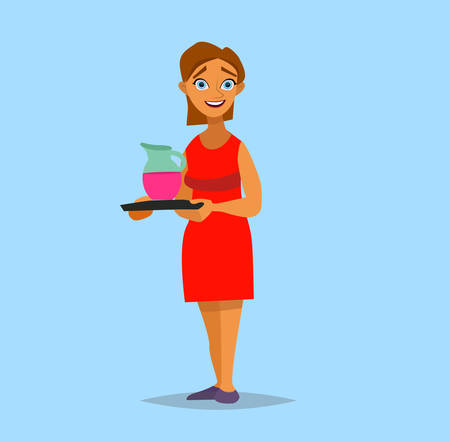 Woman housewife with the tray. Vector illustration in a flat style.