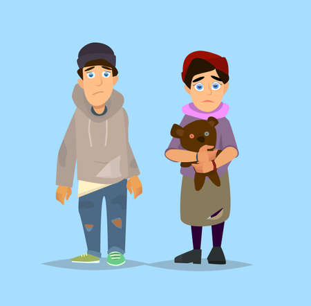 miserable: Cartoon flat character. Homeless character. Homeless children.Vector illustration in a flat style. Illustration