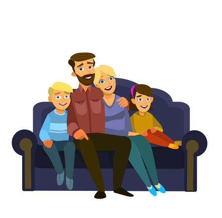 Happy family sitting on the sofa. Father, mother, son and daughter together on an isolated background. Vector illustration in a flat style Illustration
