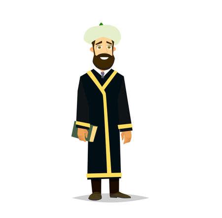 An Islamic priest portrait, Muslim imam. Vector illustration in a flat style Vector Illustration