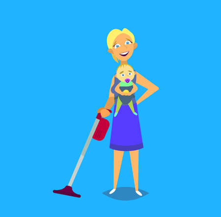Woman housewife iron clothes on an ironing board. Vector illustration in a flat style