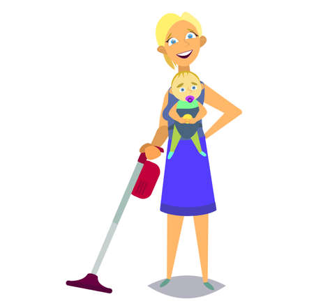 Housewife vacuuming and holds the baby in her arms. A woman is planning time and time to do all the chores.