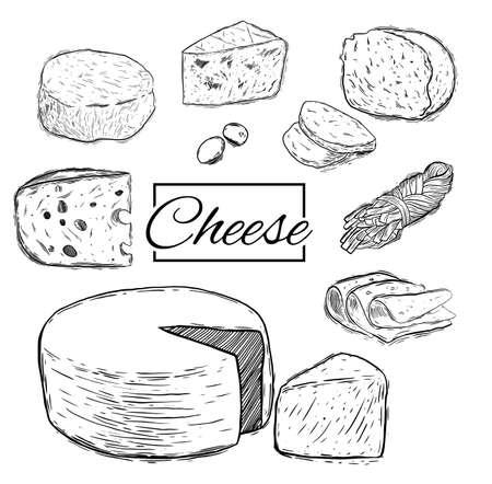 Fromage au lait bio au beurre vecteur de nourriture fraîche dessinée à la main illustration set,