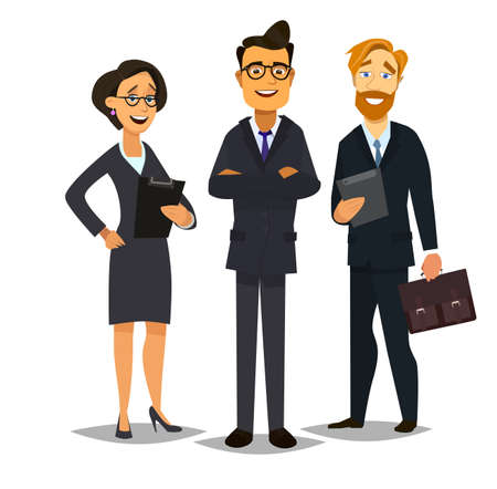 business team, businesspeople group walking at modern bright office interior Illusztráció