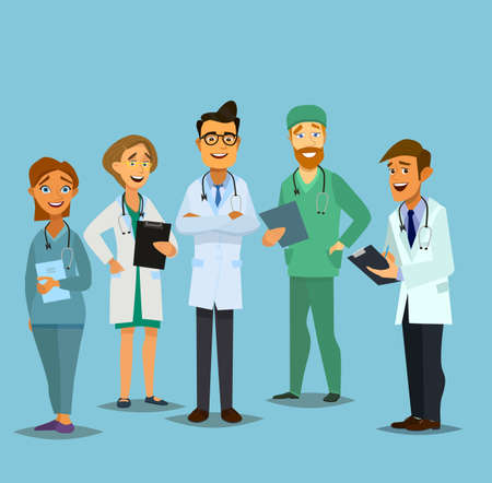clinical staff: Team doctors on a white background. Vector illustration in flat style