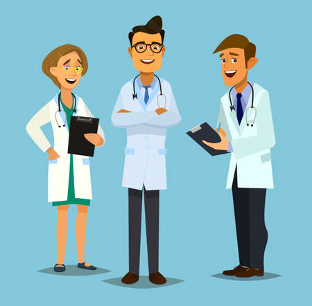 clinical staff: Team doctors illustration in flat style.