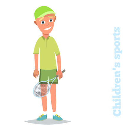 Young tenis player .Children's sports. Vector illustration in flat style.