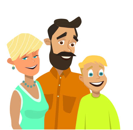 Happy family. Vector illustration in flat style.