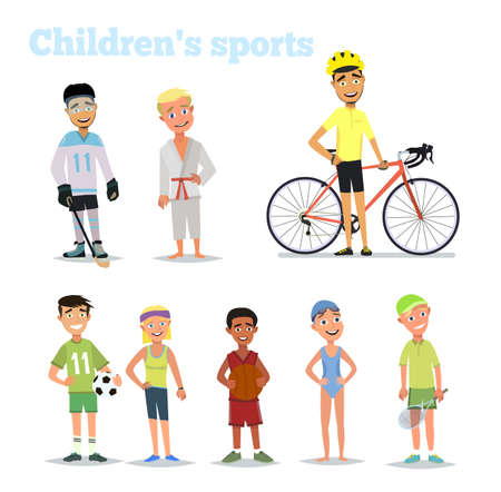 Childrens sports. Set of vector childrens characters. Vector illustration in flat style. Ilustracja