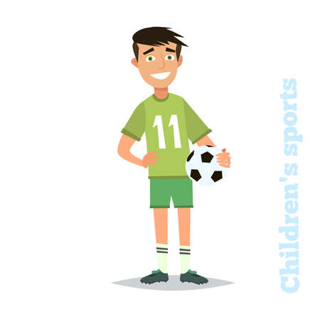 teammates: Young footballer. Vector illustration in flat style.