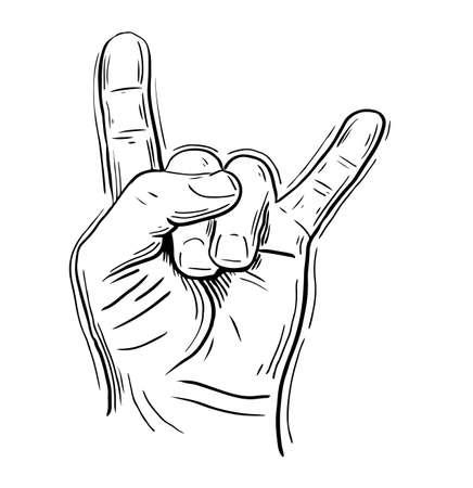 Rock on hand sign, rock n roll, hard rock, Vetores