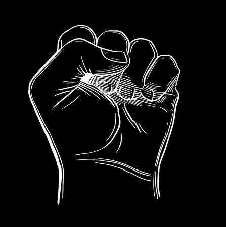 Sketch drawing fist hand gesture Hand drawn sketch .Vector illustration. Izolirovannoi isolated on a background. Illustration