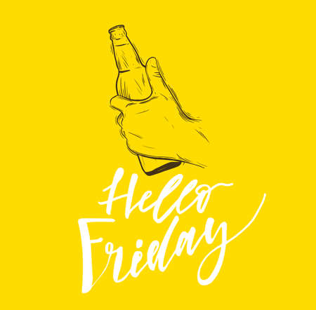 Conceptual handwritten phrase Hello friday. Hand drawn tee graphic. Typographic print poster. T shirt hand lettered calligraphic design. Vector illustration. Illustration