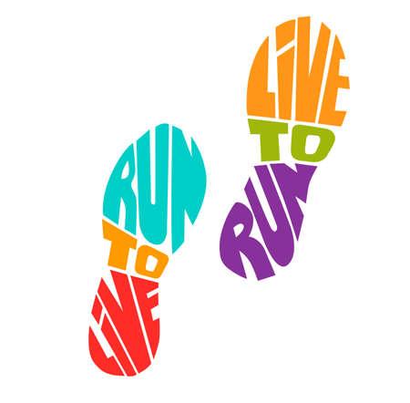 Adem gewoon en blijf rennen. Vector lettering illustratie met een lopende vrouw. Zwart vrouwelijk silhouet, handgeschreven inspirerend citaat en grunge textuur. Motiverende kaart, poster, print ontwerp