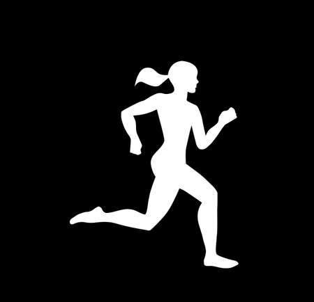 A female jogger in silhouette profile. 2 slightly different versions offered.