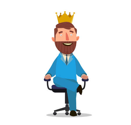 Businessman sitting on an armchair with a crown over his head. Vector Illustration of a flat design. Stock Photo