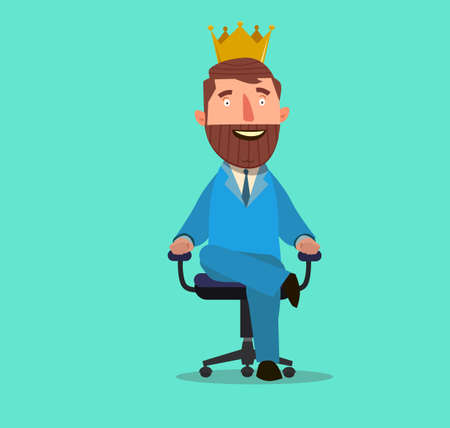 vintage furniture: Businessman sitting on an armchair with a crown over his head. Vector Illustration of a flat design. Stock Photo