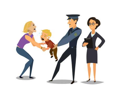 Los servicios sociales toman al niño de la madre. problema social. Ilustración de vector de estilo plano.