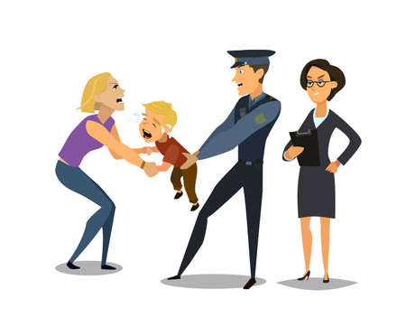 Social services takes the child from the mother. social problem. Vector illustration in flat style. Vectores