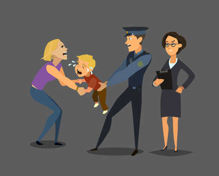 Social service staff takes the child from the mother. social problem. Vector illustration in flat style. 일러스트