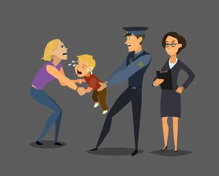 사회 봉사 요원은 아이를 어머니에게서 데려옵니다. 사회 문제. 플랫 스타일에서 벡터 일러스트 레이 션.