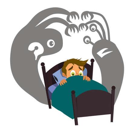 Kleine jongen kan niet slapen omdat hij 's nachts angst heeft. Vector Illustratie