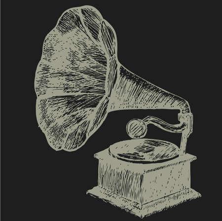 Hand drawn gramophone.