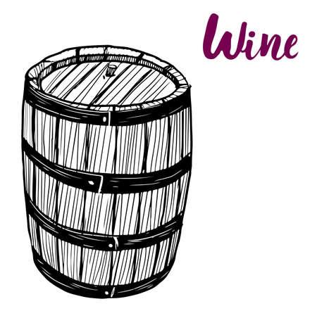Black and white vintage engraving illustration of wooden barrel. Illustration