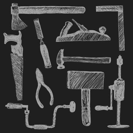 Working construction tools, set hand drawn doodle illustrations